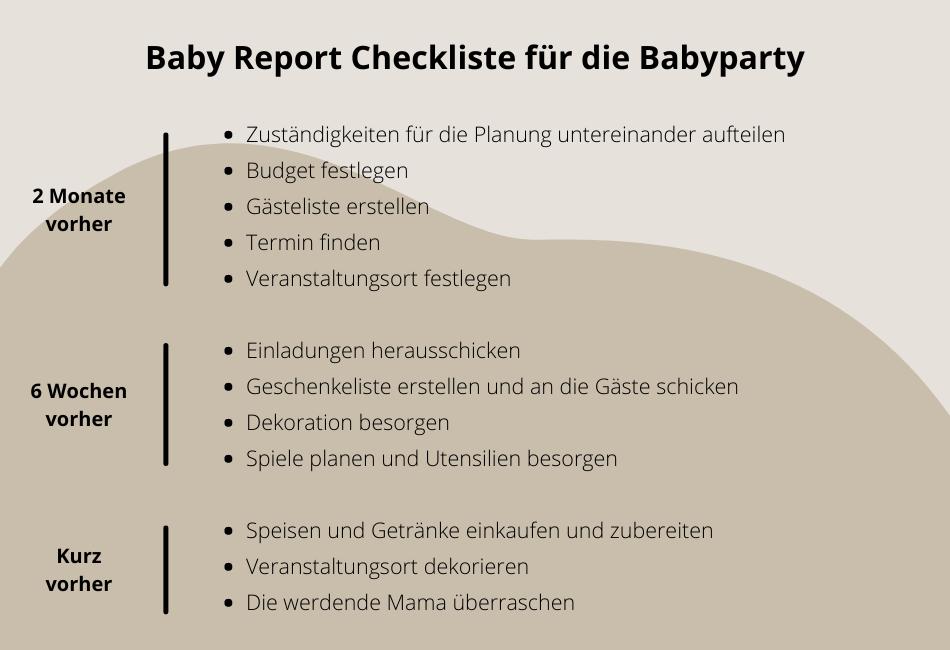 Checkliste Babyparty