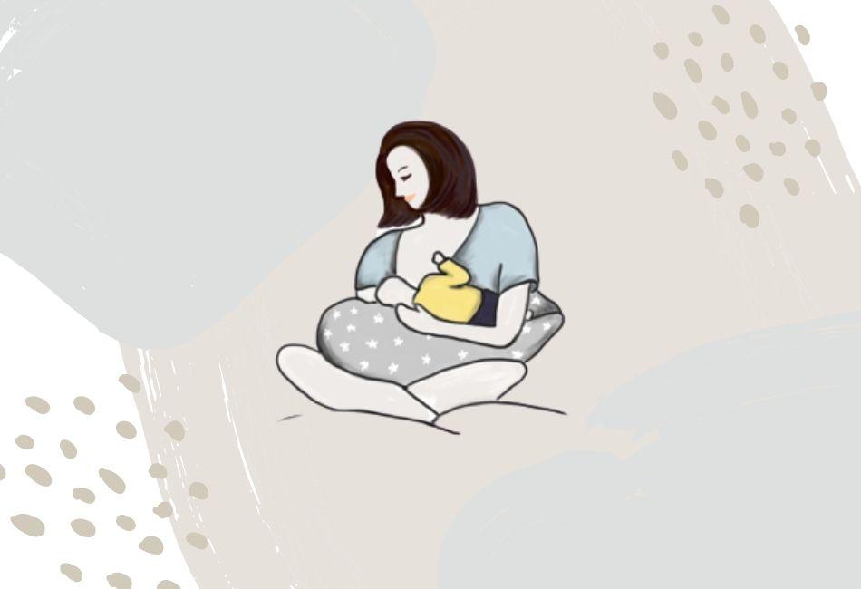 Mutter stillt ihr Kind mit Stillkissen